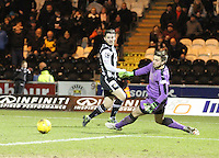Jordan Stewart squares past Danny Rogers in the St Mirren v Falkirk Scottish Professional Football League Ladbrokes Championship match played at the Paisley 2021 Stadium, Paisley on 1.3.16.