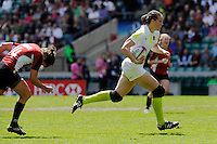 EmilyScarrattof England accelerates away to score during the iRB Challenge Cup at Twickenham on Sunday 13th May 2012 (Photo by Rob Munro)