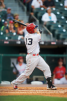 Louisville Bats left fielder Steve Selsky (13) at bat during a game against the Buffalo Bisons on June 20, 2016 at Coca-Cola Field in Buffalo, New York.  Louisville defeated Buffalo 4-1.  (Mike Janes/Four Seam Images)