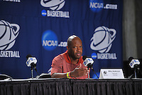 NWA Democrat-Gazette/Michael Woods --03/15/2015--w@NWAMICHAELW... University of Arkansas Razorbacks coach Mike Anderson talks to the media during a press conference before the Razorbacks practice at Jacksonville Veterans Memorial Arena in Jacksonville, Florida.