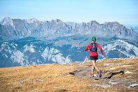 Trail running the Pizol 5 Lakes trail above Sargans, in eastern Switzerland