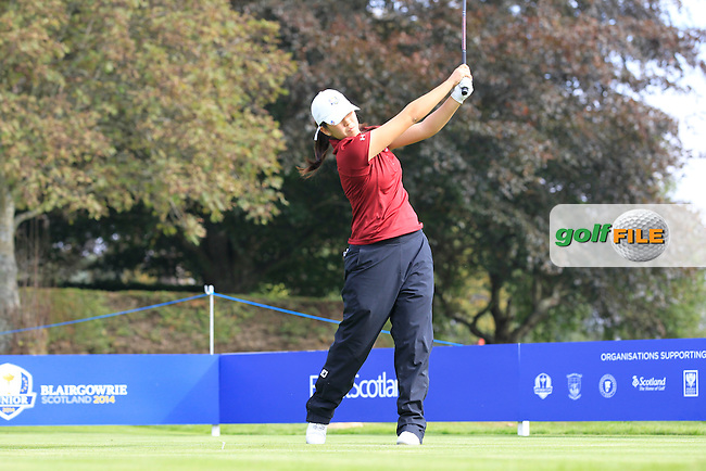 Andrea Lee (USA) on the 1st tee of the Mixed Fourballs during the 2014 JUNIOR RYDER CUP at the Blairgowrie Golf Club, Perthshire, Scotland. <br /> Picture:  Thos Caffrey / www.golffile.ie