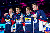 Picture by Rogan Thomson/SWpix.com - 30/07/2017 - Swimming - Fina World Championships 2017 -  Duna Arena, Budapest, Hungary - Adam Peaty, Chris Walker-Hebborn, James Guy and Duncan Scott celebrate as Great Britain go on to win the Silver Medal in the Final of the Men's 4x100m Medlay Relay.