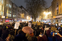 Protesters gather at the Aneurin Bevan statue on Queen Street in Wales' capital city to protest Donald Trump's ban on people from certain Muslim-dominant countries from entering the US. Monday 30 January 2017