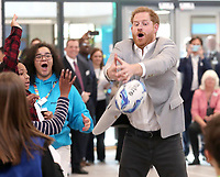 11 April 2019 - Prince Harry, Duke of Sussex takes part in activities during the official opening of the Barking & Dagenham Future Youth Zone in Dagenham, England.  The facility is created by the Charity OnSide Youth Zones and is the first of three facilities expected to open in 2019, which will provide a safe environment where young people can come and enjoy themselves, build key skills and raise their aspirations and confidence to create a happier and healthier generation. Photo Credit: ALPR/AdMedia