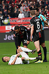 17.03.2019, BayArena, Leverkusen, GER, 1. FBL, Bayer 04 Leverkusen vs. SV Werder Bremen,<br />  <br /> DFL regulations prohibit any use of photographs as image sequences and/or quasi-video<br /> <br /> im Bild / picture shows: <br /> Ludwig Augustinsson (Werder Bremen #5), verletzt am Boden Lars Bender (Leverkusen #8), unterhaelt sich mit Schiedsrichter / referee Deniz Aytekin (SR)<br /> <br /> Foto © nordphoto / Meuter