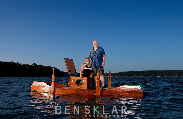 Doug and Kay Jackson built the Argonaut Jr. submarine with the help of friends  in their front yard in Tulsa, Oklahoma. The sub is a wooden replica of Simon Lake's 1894 sub originally constructed in New York City...Benjamin Sklar for Popular Science