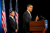 Chicago, IL - December 7, 2008 -- United States President-elect Barack Obama announces retired Army General Eric K. Shinseki as his veteran's affairs secretary nominee at a news conference in Chicago on Pearl Harbor Day..Credit: Ralf-Finn Hestoft - Pool via CNP