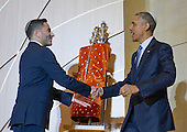 Senior Rabbi Gil Steinlauf, left, welcomes United States President Barack Obama to Adas Israel Congregation in Washington, D.C. on Friday, May 22, 2015. The President visited the synagogue to deliver remarks celebrating Jewish American Heritage Month.  The visit coincides with Solidarity Shabbat, a world-wide effort by high ranking government officials from around the world visit synagogues in their countries to highlight their commitment to combating anti-Semitism.<br /> Credit: Ron Sachs / CNP