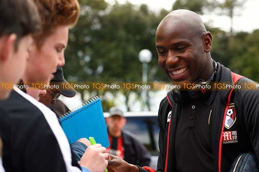 Benik Afobe of AFC Bournemouth smiles for a fans camera during AFC Bournemouth vs Middlesbrough, Premier League Football at the Vitality Stadium on 22nd April 2017