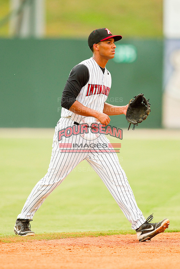 Shortstop Marcus Semien #6 of the Kannapolis Intimidators on defense against the Delmarva Shorebirds at Fieldcrest Cannon Stadium on August 6, 2011 in Kannapolis, North Carolina.  The Intimidators defeated the Shorebirds 14-6.   (Brian Westerholt / Four Seam Images)