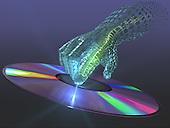 Finger receiving/sending information from disc