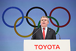 Thomas Bach (President of the International Olympic Committee) appears at a ceremony on MARCH 13, 2015 in Tokyo, Japan to announce Toyota's sponsorship of the Olympic movement. Japanese auto maker Toyota signed up to become a top level Official Worldwide Olympic Partner.<br /> (Photo by Yohei Osada/AFLO SPORT) [1156]