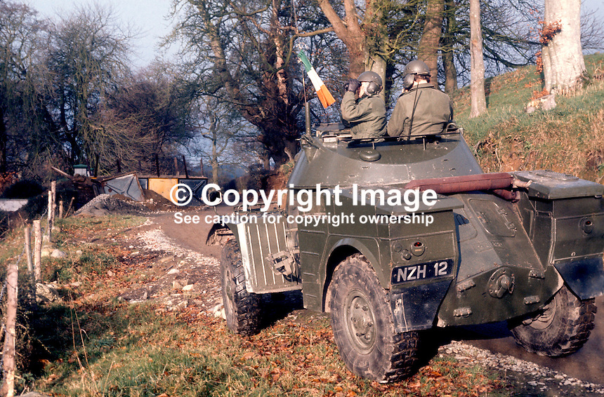 Irish Army scout car patrol checking out an unapproved road on the Co Louth side of the border with Co Armagh, N Ireland.  It appears the barrier put in place by the Northern authorities has been bulldozed aside to re-open the road. The Irish army personnel are from 23rd Battalion stationed in Dundalk.197512120773d..Copyright Image from Victor Patterson, 54 Dorchester Park, Belfast, United Kingdom, UK...For my Terms and Conditions of Use go to http://www.victorpatterson.com/Victor_Patterson/Terms_%26_Conditions.html