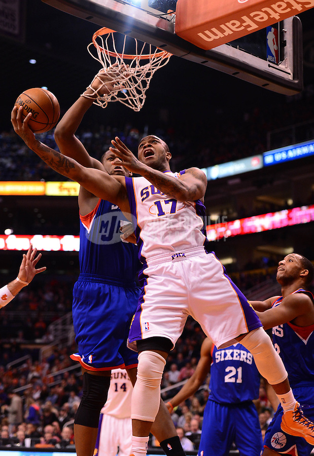 Jan. 2, 2013; Phoenix, AZ, USA: Phoenix Suns forward P.J. Tucker (17) takes a shot in the second half against the Philadelphia 76ers at the US Airways Center. The Suns defeated the 76ers 95-89. Mandatory Credit: Mark J. Rebilas-USA TODAY Sports