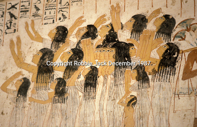 Wall painting in the Tomb of Ramose at Thebes.The painting is of lamenting women in Ramose's funeral procession.Ramose was a Governor of Thebes and Vizier during the reigns of Amenophis III who ruled Egypt from 1391-1353 or 1388-1351 BC and Amenophis IV who changed his name to Akhenaten and reigned from 1353-1336 or 1351- 1334 BC.  Thebes is the name the Greeks gave to Waset, the ancient capital of Egypt.