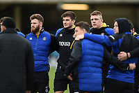 Max Wright, Josh Bayliss and Sam Nixon of Bath Rugby look on in a pre-match huddle. Heineken Champions Cup match, between Bath Rugby and Wasps on January 12, 2019 at the Recreation Ground in Bath, England. Photo by: Patrick Khachfe / Onside Images