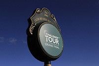 Challenge Tour sign at the 1st tee during the Pro-Am of the Challenge Tour Grand Final 2019 at Club de Golf Alcanada, Port d'Alcúdia, Mallorca, Spain on Wednesday 6th November 2019.<br /> Picture:  Thos Caffrey / Golffile<br /> <br /> All photo usage must carry mandatory copyright credit (© Golffile | Thos Caffrey)