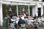 Auntie's tea shop, Cambridge, England with people outside at tables