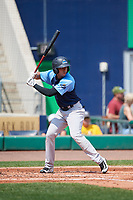 Trenton Thunder third baseman Danienger Perez (3) at bat during a game against the Hartford Yard Goats on August 26, 2018 at Dunkin' Donuts Park in Hartford, Connecticut.  Trenton defeated Hartford 8-3.  (Mike Janes/Four Seam Images)