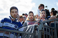 A general view of Bath Rugby supporters in the crowd wearing Matt Banahan masks. Aviva Premiership match, between Bath Rugby and London Irish on May 5, 2018 at the Recreation Ground in Bath, England. Photo by: Patrick Khachfe / Onside Images