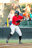 Jacob May (20) of the Kannapolis Intimidators at bat against the Rome Braves at CMC-Northeast Stadium on August 24, 2013 in Kannapolis, North Carolina.  The Intimidators defeated the Braves 6-1.  (Brian Westerholt/Four Seam Images)