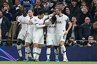 Serge Aurier of Tottenham Hotspur is congratulated after scoring the third goal during Tottenham Hotspur vs Olympiacos FC, UEFA Champions League Football at Tottenham Hotspur Stadium on 26th November 2019