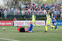Boston, MA - Saturday April 29, 2017: Haley Kopmeyer and Adriana Leon during a regular season National Women's Soccer League (NWSL) match between the Boston Breakers and Seattle Reign FC at Jordan Field.