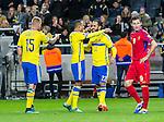 Solna 2015-10-12 Fotboll EM-kval , Sverige - Moldavien :  <br /> Sveriges Erkan Zengin firar sitt 2-0 m&aring; med Martin Olsson och John Guidetti under matchen mellan Sverige och Moldavien <br /> (Photo: Kenta J&ouml;nsson) Keywords:  Sweden Sverige Solna Stockholm Friends Arena EM Kval EM-kval UEFA Euro European 2016 Qualifying Group Grupp G Moldavien Moldova jubel gl&auml;dje lycka glad happy