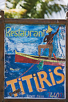 France/DOM/Martinique/ Le Vauclin: Enseigne de restaurant à la Pointe  Faula