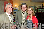 At the Waterville Golf Club's Captain's Dinner in the Smugglers Inn were l-r; John Morris, Mike Murphy & Claire Sugrue