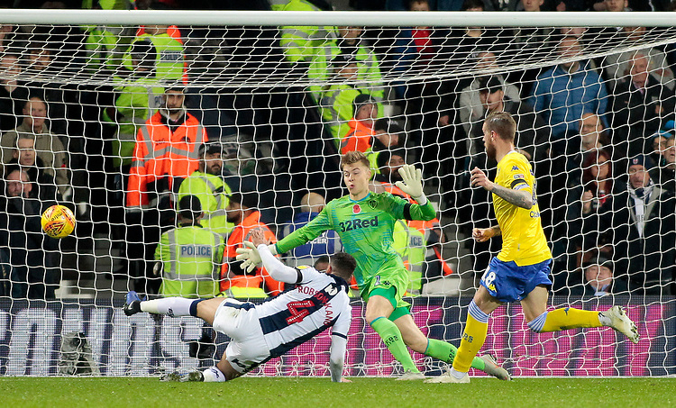 West Bromwich Albion's Hal Robson-Kanu misses a golden opportunity to make it 1-0<br /> <br /> Photographer David Shipman/CameraSport<br /> <br /> The EFL Sky Bet Championship - West Bromwich Albion v Leeds United - Saturday 10th November 2018 - The Hawthorns - West Bromwich<br /> <br /> World Copyright © 2018 CameraSport. All rights reserved. 43 Linden Ave. Countesthorpe. Leicester. England. LE8 5PG - Tel: +44 (0) 116 277 4147 - admin@camerasport.com - www.camerasport.com
