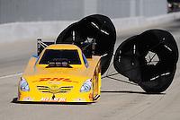 Nov 14, 2010; Pomona, CA, USA; NHRA funny car driver Jeff Arend during the Auto Club Finals at Auto Club Raceway at Pomona. Mandatory Credit: Mark J. Rebilas-
