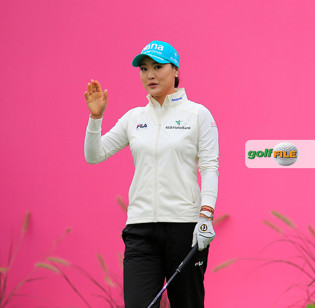 So Yeon Ryu (KOR) on the 1st tee to start her match during Saturday's Round 3 of The 2016 Evian Championship held at Evian Resort Golf Club, Evian-les-Bains, France. 17th September 2016.<br /> Picture: Eoin Clarke | Golffile<br /> <br /> <br /> All photos usage must carry mandatory copyright credit (&copy; Golffile | Eoin Clarke)