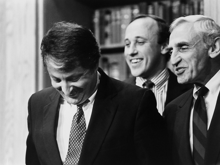 Rep. Sam Gejdenson, D-Conn., Rep. Thomas Andrews, D-Maine, and Rep. Romano Mazzoli, D-Ky., at the end of a press conference on Nov. 14, 1991. (Photo by Laura Patterson/CQ Roll Call via Getty Images)