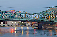 The Jefferson Stret Bridge crosses the DesPlaines River inJoliet, IL with Harrah's Casion in the background
