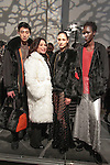 Fashion designer Adrienne Landau (second from left) poses with models at her Adrienne Landau Fall Winter 2016 collection fashion presentatino, on February 17 2016, during New York Fashion Week Fall 2016.