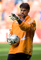 Houston Dynamo goalkeeper Pat Onstad. The Houston Dynamo defeated the New England Revolution 2-1 in the finals of the MLS Cup at RFK Memorial Stadium in Washington, D. C., on November 18, 2007.
