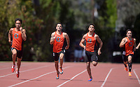 Apr 11, 2015; Los Angeles, CA, USA; Occidental College runners compete in a 400m heat in a SCIAC multi dual meet at Occidental College. From left: Nicholas Conklin and Gregory Capra and Connor Pendleton and Ethan Vu. Photo by Kirby Lee
