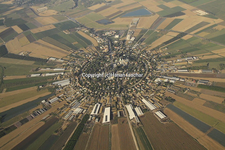 Israel, Jezreel valley, an aerial view of Nahalal