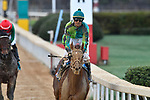 HOT SPRINGS, AR - FEBRUARY 19: Jockey Corey Lanerie #3 riding Hawaakom and winning the Razorback Handicap at Oaklawn Park on February 19, 2018 in Hot Springs, Arkansas. (Photo by Ted McClenning/Eclipse Sportswire/Getty Images)