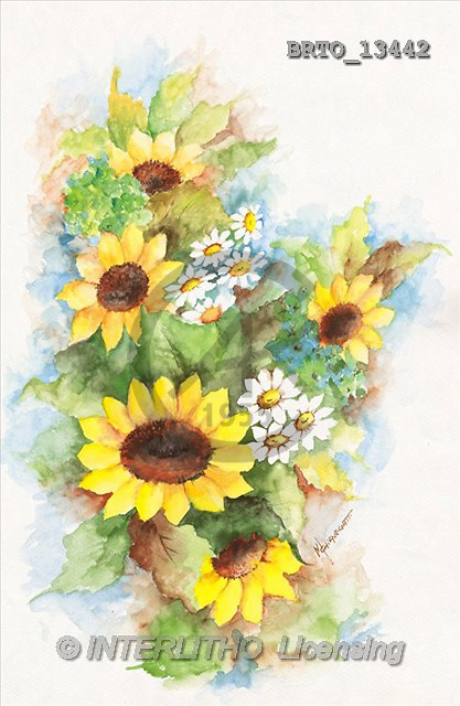 Alfredo, FLOWERS, paintings, sunflowers(BRTO13442,#F#)