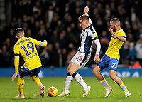 West Bromwich Albion's Harvey Barnes tries to keep possession away from Leeds United's Pablo Hernandez & Kemar Roofe<br /> <br /> Photographer David Shipman/CameraSport<br /> <br /> The EFL Sky Bet Championship - West Bromwich Albion v Leeds United - Saturday 10th November 2018 - The Hawthorns - West Bromwich<br /> <br /> World Copyright © 2018 CameraSport. All rights reserved. 43 Linden Ave. Countesthorpe. Leicester. England. LE8 5PG - Tel: +44 (0) 116 277 4147 - admin@camerasport.com - www.camerasport.com