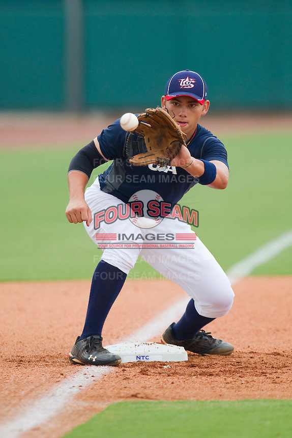 Third baseman Dante Bichette Jr. #49 during the USA Baseball 18U National Team Trials at the USA Baseball National Training Center on June 30, 2010, in Cary, North Carolina.  Photo by Brian Westerholt / Four Seam Images