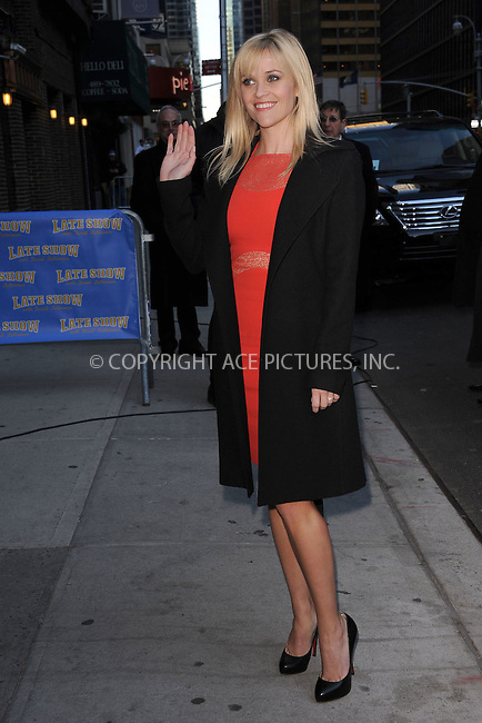 WWW.ACEPIXS.COM . . . . . February 13, 2012...New York City...Reese Witherspoon tapes an appearance on  the Late Show with David Letterman on February 13, 2012 in New York City....Please byline: KRISTIN CALLAHAN - ACEPIXS.COM.. . . . . . ..Ace Pictures, Inc: ..tel: (212) 243 8787 or (646) 769 0430..e-mail: info@acepixs.com..web: http://www.acepixs.com .