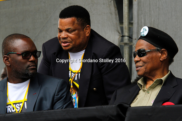 DURBAN - 12 June 2016 - Mangosuthu Buthelezi (right), the octogenarian leader of South Africa's Inkatha Freedom Party chats with the party's deputy president Mzamo Buthelezi (left) and Albert Mncwango (standing), the party's deputy national chairman, at a rally in Durban's King Zwelithini Sadium where the party's local government election manifesto was launched. The country's voters go to the polls on August 3 to elect the councillors who will serve them in the more than 200 municipalities. - Picture: Allied Picture Press/APP