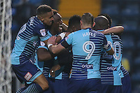 Aaron Pierre of Wycombe Wanderers celebrates after he scores the opening goal of the game during the Sky Bet League 2 match between Wycombe Wanderers and Morecambe at Adams Park, High Wycombe, England on 12 November 2016. Photo by David Horn.