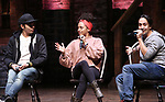 """Anthony Lee Medina, Sasha Hollinger with Lin-Manuel Miranda makeing a surprise appearance during a Q & A before The Rockefeller Foundation and The Gilder Lehrman Institute of American History sponsored High School student #EduHam matinee performance of """"Hamilton"""" at the Richard Rodgers Theatre on 3/20/2019 in New York City."""