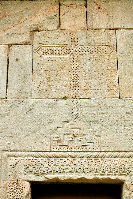 "Picture & image of the exterior geometric reief sculpture architectural details of Betania (Bethania ) Monastery of the Nativity of the Mother of God Georgian Orthodox complex, Georgia.<br /> <br /> Betania (Bethania ) Monastery of the Nativity of the Mother of God is a 11th century church with a cruciform ground plan and dome in the style of Georgian Orthodox church  architecture of the ""Golden Age"" of the Kingdom of Georgia."