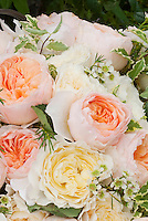 English roses in basket peach and cream